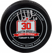 Martin Brodeur New Jersey Devils Autographed February 9, 2016 Retirement Night Official Game Puck - Fanatics Authentic Certified