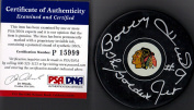 "PSA/DNA Bobby Hull #23cm The Golden Jet"" Autographed Signed Chicago Blackhawks Hockey Puck"