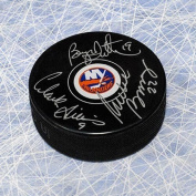 Autographed Bossy, Trottier & Gillies Triple Signed NY Islanders Trio Grande Hockey Puck - Autographed NHL Pucks