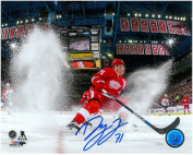 DYLAN LARKIN AUTOGRAPHED DETROIT RED WINGS 8X10 PHOTO #3 - ICE SPRAY