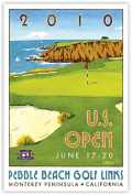 Signed 2010 U.S. Open Pebble Beach Mini-Poster by Lee Wybranski
