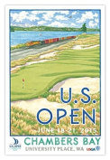 Signed 2015 Chambers Bay U.S. Open Poster by Lee Wybranski