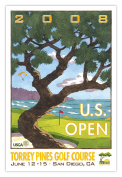 Signed 2008 U.S. Open Torrey Pines Print by Lee Wybranski