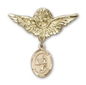 ReligiousObsession's 14K Gold Baby Badge with St. Luke the Apostle Charm and Angel with Wings Badge Pin