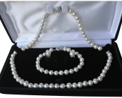"""16"""" 7"""" set Genuine 8-9mm ROUND White Strand Pearl Necklace Bracelet Stud Earrings 3pc set Cultured Freshwater"""