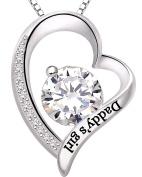 "ALOV Jewellery Sterling Silver ""Daddy's girl"" Love Heart Cubic Zirconia Pendant Necklace"