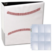 White Stitched Baseball Card Collectors Album with 25 Premium Ultra Pro 9 Pocket Pages Included