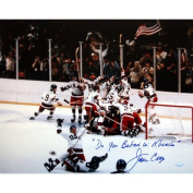 """Steiner Sports NHL USA Hockey Jim Craig 1980 USA Celebration 41cm x 50cm with """"Do You Believe in Miracles."""" Inscription."""