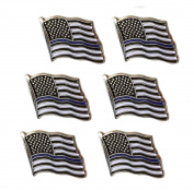 Thin Blue Line American Flag Lapel Pin - Set of 6