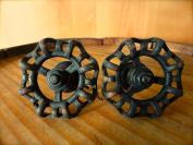 2 BLACK SPIGOT FAUCET DRAWER CABINET DOOR PULLS HANDLE HOOK GARDEN YARD HARDWARE