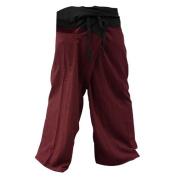 2 Tone Thai Fisherman Pants Yoga Trousers, Burgundy/Charcoal, One Size Fits Most