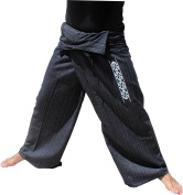 RaanPahMuang Cotton with Maori Koru Screen Print Fishermans Wrap Pants, Medium, Black