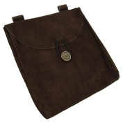 Mediaeval Renaissance Leather Brown Suede Pouch Large