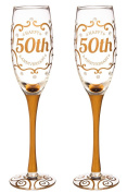 Cypress Home 50th Anniversary Champagne Flutes, 240mls, Set of 2