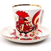 Lomonosov Porcelain Mug and Saucer Leningradskii Red Rooster 12.2 fl.oz/360 ml