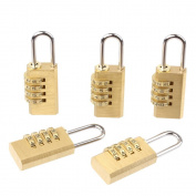 LYWS 5PCS 4 Digit Brass Lock Password Padlock Resettable Combination for Cabinet