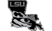LSU Tigers STATE SD21790 Premium Raised Metal Chrome Auto Emblem University of Louisiana State