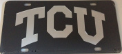 TCU HORNED FROGS Laser Cut Inlaid Black Acrylis Silver Mirrored Logs Licence Plate / Car Tag, Made and shipped in the USA