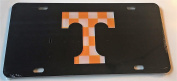 Black with Checkerboard T Tennessee Volunteers Mirrored Car Tag - Vols Checker Licence Plate
