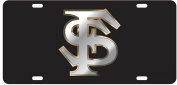FSU Florida State Seminoles, Laser Cut Mirrored FS Licence Plate Auto Tag, Made and shipped in the USA
