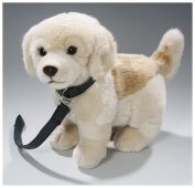 Soft Toy Golden Retriever standing with lead, 23cm . [Toy]