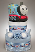 Baby Boy Two Tier Nappy Cake with My First Thomas the Tank Engine Toy New Born Baby Shower Gift