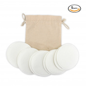 Almondcy Washable Organic Nursing Pads - 10 Pack (5 pairs) - Reusable Breast Pads,Bra pads,Leakproof Breastfeeding Pads