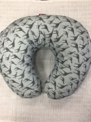 Soft Nursing Pregnancy Pillow/Cushion/Wedge - BLUE GREY WITH GIRAFFE PRINT - WITH QUILTED COVER & EXTRA PADDING