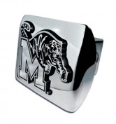 Memphis Tigers Chrome Metal Hitch Cover with Chrome Logo