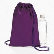 Purple Canvas Drawstring Backpacks (1 Dozen) - Bulk