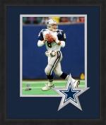 NFL Dallas Cowboys Troy Aikman 20cm x 25cm Full Colour Logo Mat Photograph, Blue