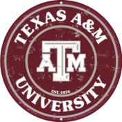 Texas A & M 30cm Embossed Metal Nostalgia Circular Sign