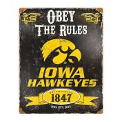 Party Animal Sports Fan NCAA Team Iowa Hawkeyes Embossed Metal Sign
