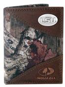 Zep-Pro LSU-IWNT2-MOS Lush Tigers Concho Emblem Mossy Oak Nylon And Leather Tri-Fold Wallet