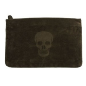 Clutch Dark Skull Dark Brown Leatherette Handbag for Lady Medium with Zip Closure And Soft To Touch