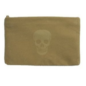 Clutch Light Skull Light Brown Leatherette Handbag for Lady Medium with Zip Closure And Soft To Touch...