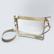 Capri Designs Stadium Collection Small Crossbody Clear with Tan Accents---MEETS STADIUM REQUIREMENTS