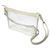 Capri Designs Stadium Collection Large Crossbody Clear with Tan Accents