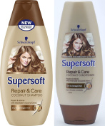 Schwarzkopf Supersoft Repair and Care Coconut Shampoo 400ml + Repair and Care Coconut Conditioner 250ml