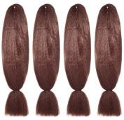 American Dream Premium Kanekelon Braid for Hair Weaves, Dreads and Avant Garde Creative Styling, Dark Rusty Copper, Pack of 4