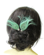 2 x Mint Green Silver Peacock Feather Hair Pins Bridesmaid Headpiece Vtg 1633 *EXCLUSIVELY SOLD BY STARCROSSED BEAUTY*