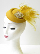 Gold Mustard Silver Feather Pillbox Hat Races Fascinator Ascot Headpiece 1663 *EXCLUSIVELY SOLD BY STARCROSSED BEAUTY*