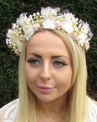 Gold Silver Ivory Opal Dried Gypsophila Flower Headpiece Bridal Headband 1651 *EXCLUSIVELY SOLD BY STARCROSSED BEAUTY*