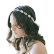 Stofirst Women Girls Handmade Wedding Party Faux Pearl Hairband Headwear Fashion Elegant Crystal Rhinestone Beaded Headdress Hair Jewellery with Satin Ribbon