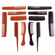 12 Pack Hair Comb Styling Cutting Grooming Conditioning Long Tail Pocket Set Salon Quality Barber Black Brown