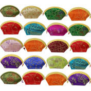 kilofly 20pc Chinese Silk Embroidered Brocade Gift Jewellery Coin Purse Pouch Set
