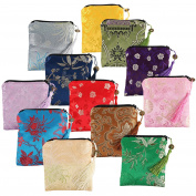 kilofly 12pc Silk Brocade Tasselled Coin Purse Zipper Jewellery Pouch Bag Value Set