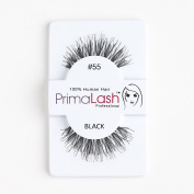 100% Human Hair False Lashes by PrimaLash Professional STYLE 55- Handmade Strip Lashes