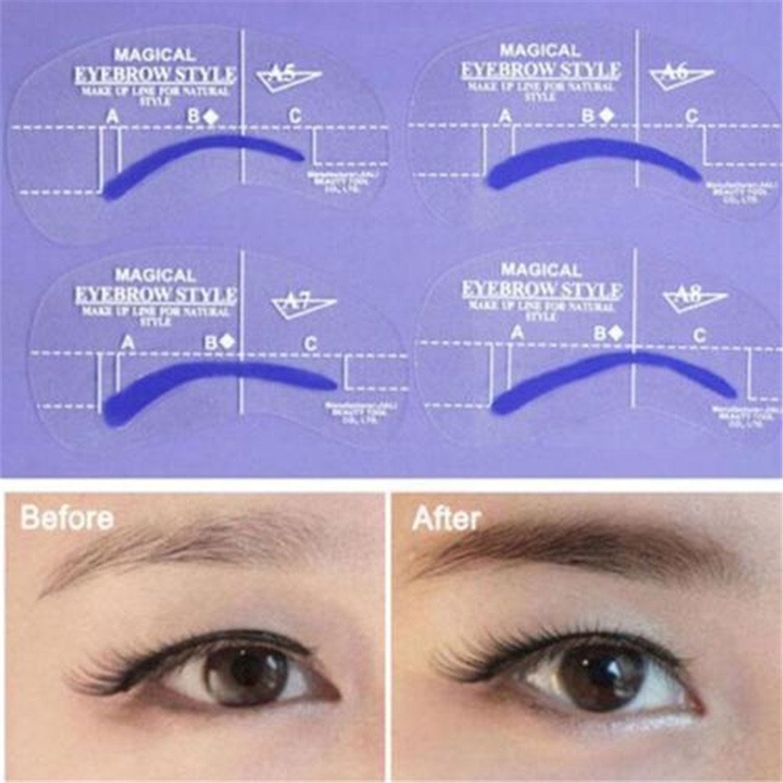 Eyebrow Stencil Shaper With 3 Pcs Razor Template Ruler Shaping For Diy Grooming
