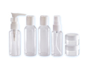 1 Set of 7Pcs Empty Portable Clear Plastic Travelling Makeup Cosmetic Toiletries Liquid Sample Storage Bottles Containers Jar Pot Case with a Mini Scraper